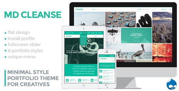 Check out Cleanse. Minimal Style Drupal Portfolio Theme @bootstrapstage