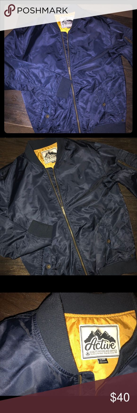 **New Never Used Active Ride Shop Bomber Jacket** Brand new quality bomber jacket. Dark Navy Blue. Can be dressed up with slacks or down with jeans 👖. Active Ride Shop Jackets & Coats Bomber & Varsity