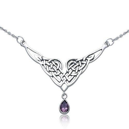 Bling Jewelry Celtic Knot 925 Silver Pendant Necklace Natural Amethyst Teardrop