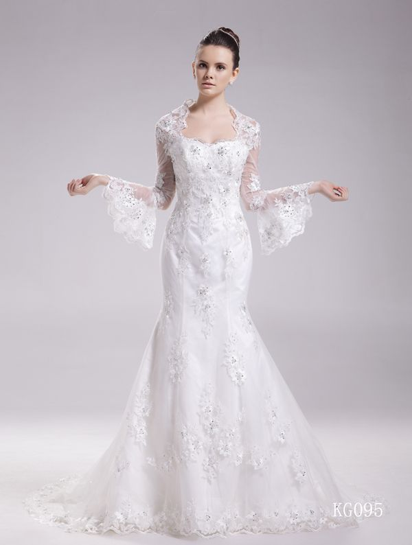 Gorgeous Mermaid V-Neck Lace Long Sleeves Chapel Train #Wedding Dress WAL07245-QS