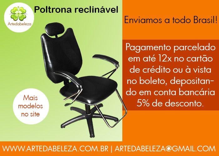 Poltrona reclinável Artedabeleza | http://www.artedabeleza.com.br/categoria/2451245/Cadeiras/Cadeira-reclinavel/