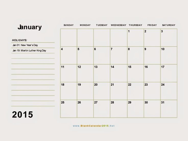 Free Printable Calendar: Free Printable Calendar January