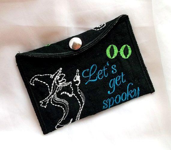 Wallet Halloween Witch - pocket - Machine embroidery digitization./INSTANT DOWNLOAD