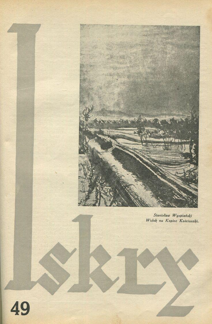 """Iskry No. 49, 26.11.1932, Y. X Photograph on the cover: Stanisław Wyspiański """"Widok na kopiec Kościuszki"""""""