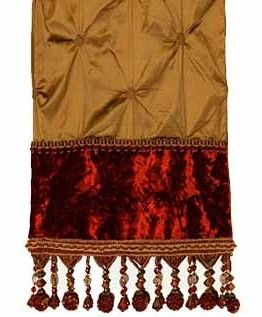 Bronze Silk And Red Velvet Table Runner