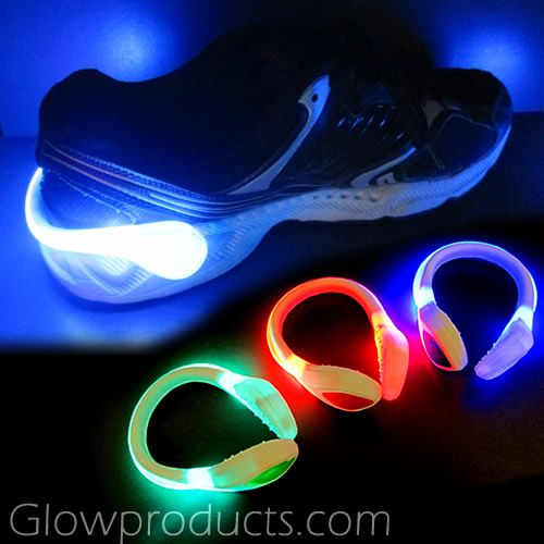 Clip On LED Shoe Lights! Light up the glow run with easy to attach LED Shoe Light Clips! http://glowproducts.com/products/LASHOECW #GlowRun #NightRun