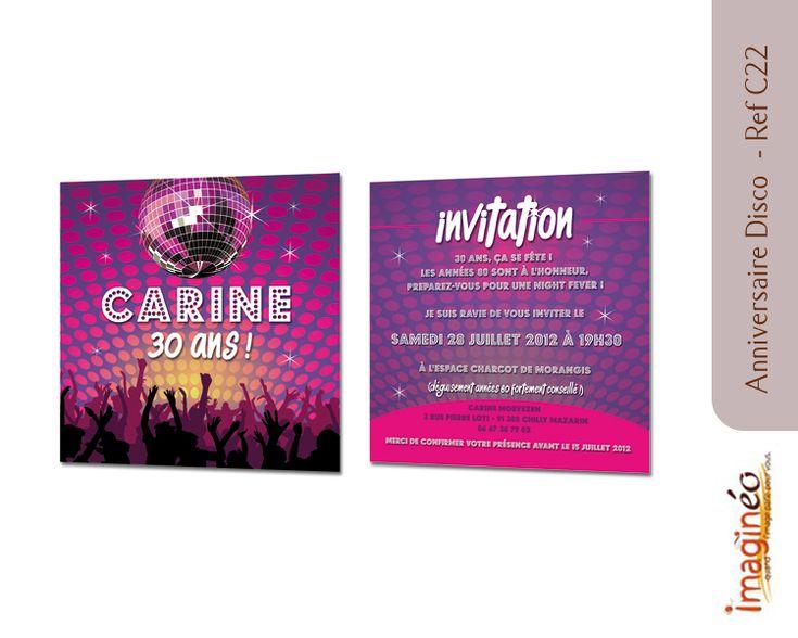 Carton invitation disco anniversaire disco boules facette carton invitation anniversaire - Boule a facette ...