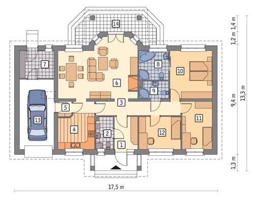 Rzut parteru POW. 132,8 m²