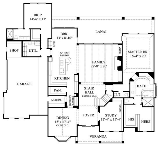 Gml d 550c 1st floor like the beamed family room ceiling for House plans with mudroom