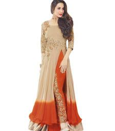 Buy Cream faux georgeet embroidered semi stitiched salwar with dupatta party-wear-salwar-kameez online