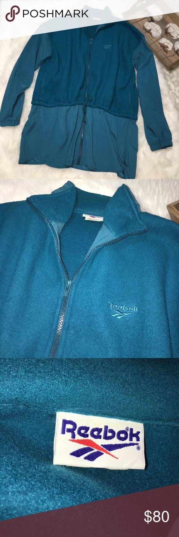 Vintage Reebok Teal Blue Fleece Jacket Sz L Super chic vintage Reebok size large Teal blue zip up fleece jacket in excellent gently used condition. Reebok Jackets & Coats