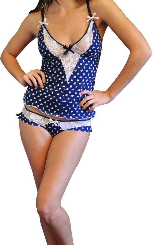 Navy blue and white cotton knit cami set with imported stretch lace and adjustable straps. Low-rise panties with side frill detail included.