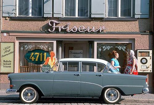 At the hairdresser 1958-1960 Opel Rekord P1  Fashionable ladies drove Opels, that is what this photo has to tell us, I suppose.  Good news. Thanks to eBay, I have acquired a 1964 Opel calender - so new calender photos are on the way. And I'm bidding ona few other Opel calenders, so keep fingers crossed.
