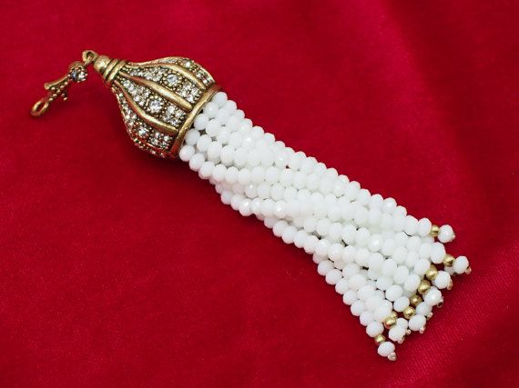 Tassel Pendant with White Crystal Stone Jewelled Authentic