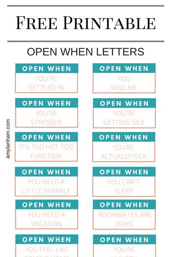 open when letter free printable