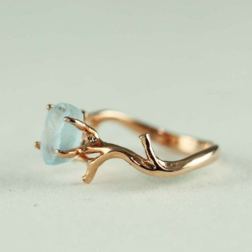 Pink Gold Rough Blue Topaz Ring