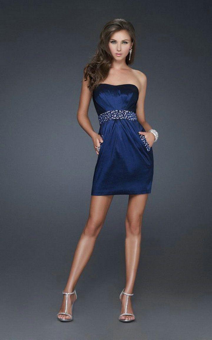 Vestidos de fiesta cortos en azul