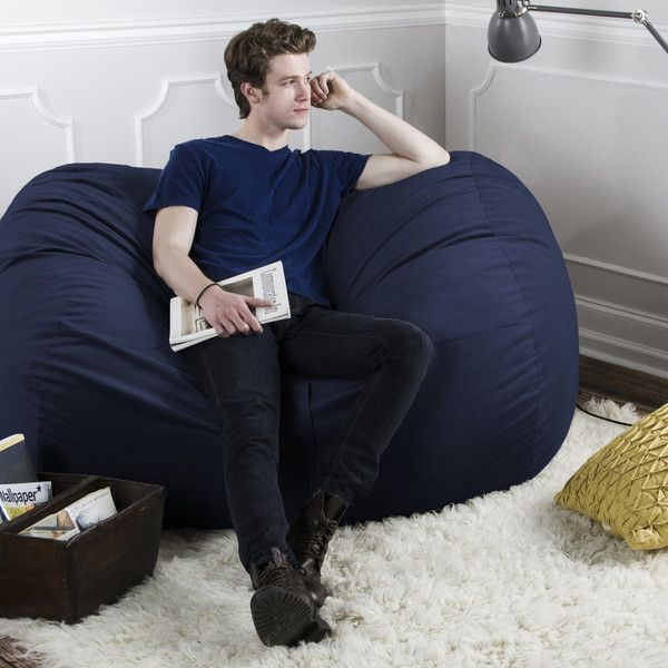 Navy Microsuede 55 Foot Jaxx Lounger Loveseat Sized Bean Bag Ideal For A Den