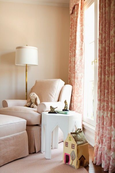 chair/ottoman, side table, and lamp arrangement for corner of the nursery (also like curtain fabric)
