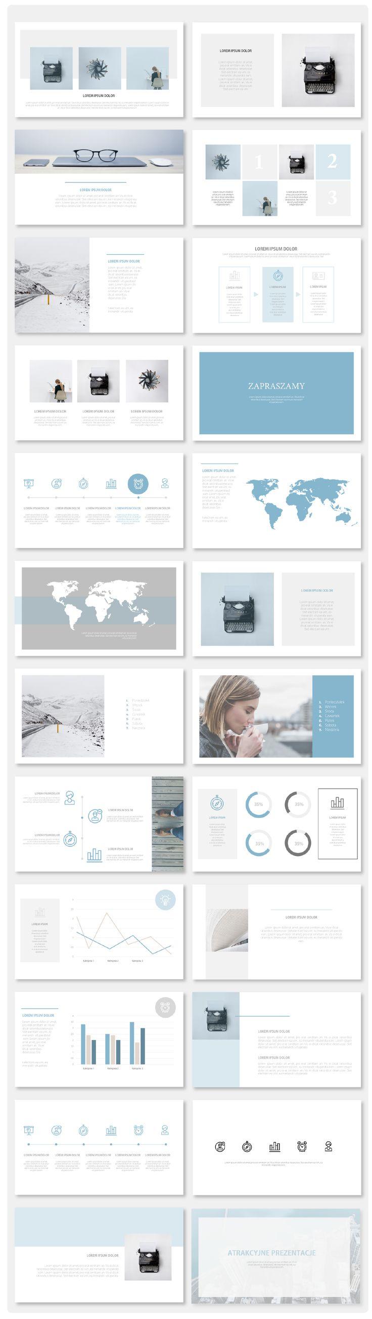 Lekkie i minimalistyczne slajdy w odcieniach błękitu uzupełnione ciepłą szarością. Szablon dopełniają ikony, pasujące do charakteru prezentacji. Poniższy szablon doskonale sprawdzi się w promocji marek i produktów, które mają kojarzyć się z nowoczesnością i świeżością.