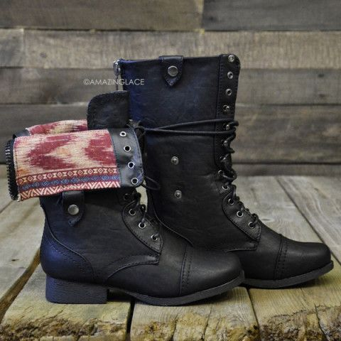 Southern Pines Black Tribal Fold Over Combat Boots | Budget Finds ...