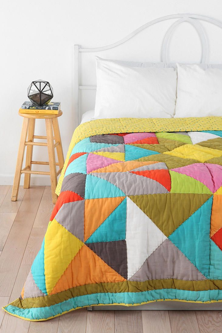 Beci Orpin Geo Patchwork Quilt | Urban Outfitters -is it just me or does this quilt just screams COMFY!?