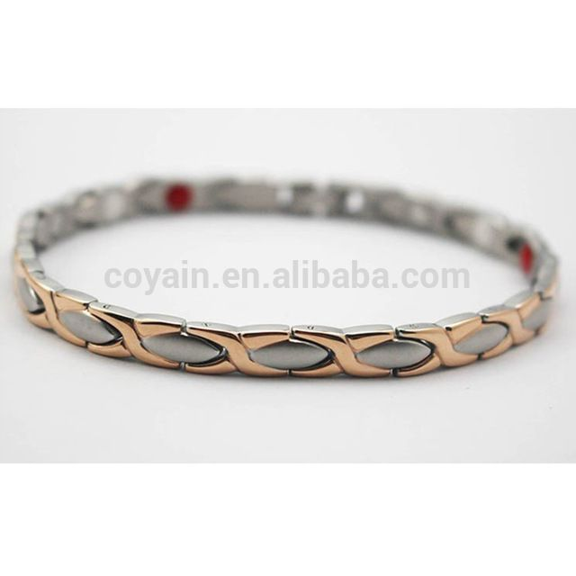 Source Custom Jewelry Rose Gold Silver Two Tone Stainless Steel Energy Magnetic Health Bracelet Women on m.alibaba.com