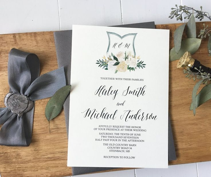 Beautiful Elegant wedding invitation, adorned with gray silk ribbon,the perfect mix to wow your guests. These handmade wedding invitations are the perfect way