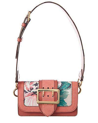 Rue La La — Burberry Peony Rose Print Small Leather Buckle Bag