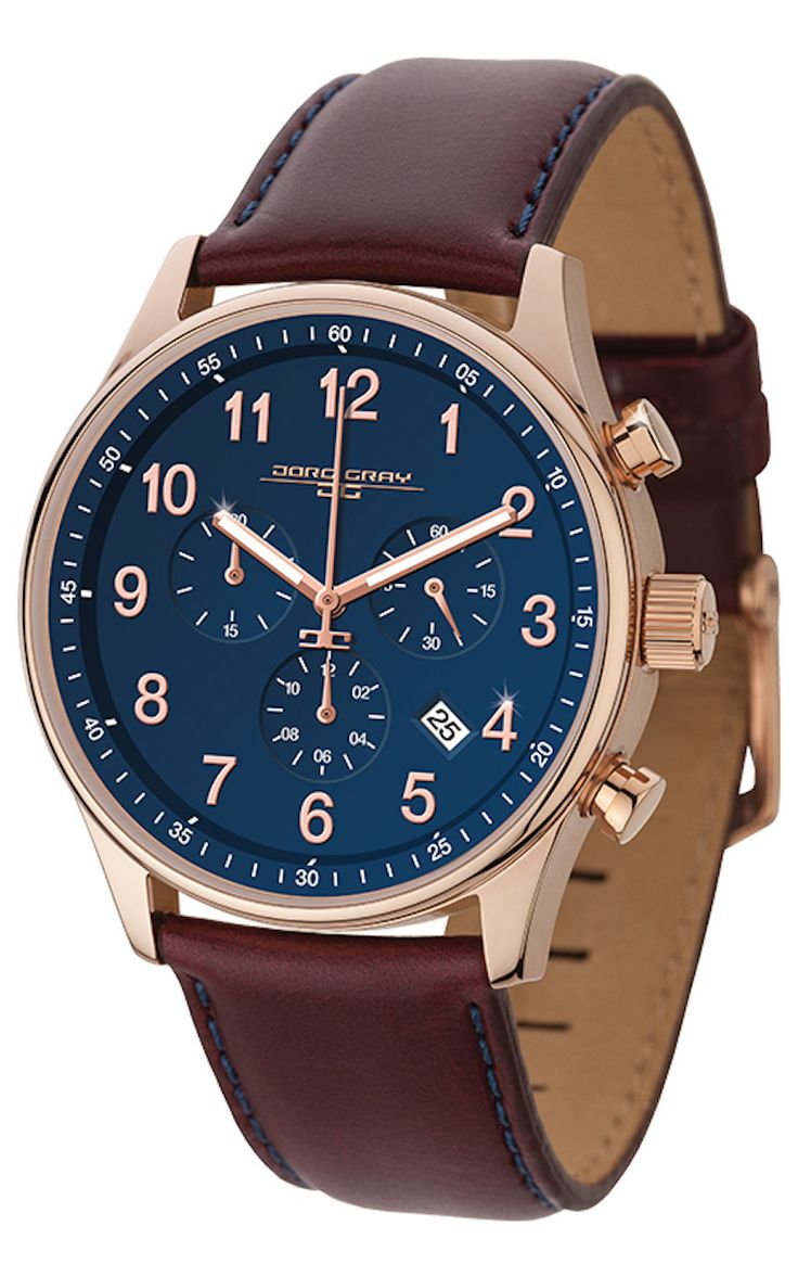 Jorg Gray JG5500-21 Men's Watch Chronograph Blue Dial With Dark Red Leather Strap