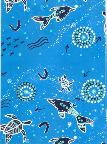 Aboriginal design Wrapping Paper (Dolphin & Sea Turtle design by Mundara) $2.00 each 69cm x 49cm