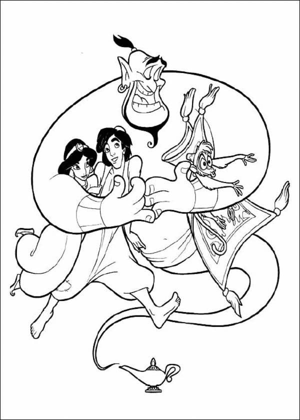Princess Jasmine Aladdin Genie And Monkey Disney Coloring Page