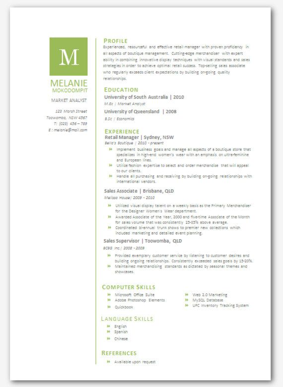modern microsoft word resume template melanie by inkpower just cute pinterest the