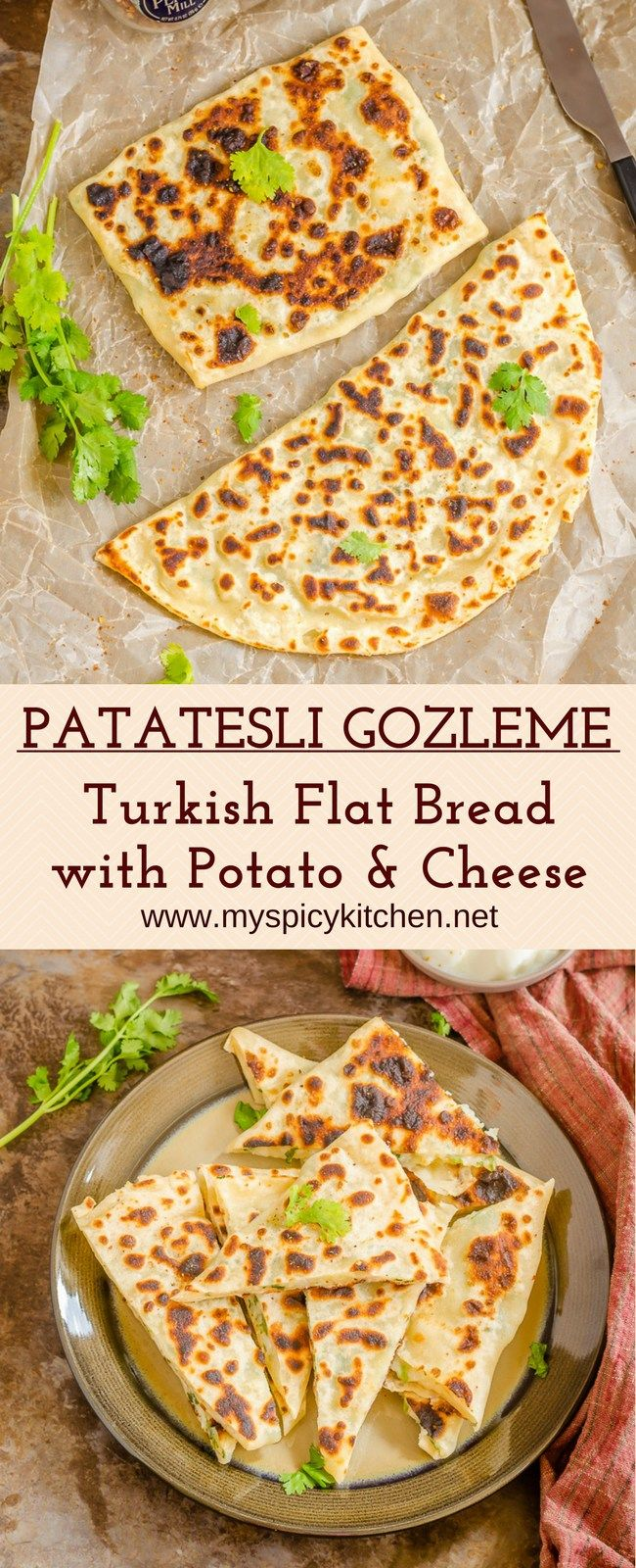 Patasteli gozleme is potato cheese stuffed flatbread from Turkey.  It is a popular street food, makes a great snack, breakfast and a light meal. Make a gozleme wrap using salad as a filling.   #StuffedFlatBread #TurkishFlatBread #SavoryStuffedFlatBread #StreetFood