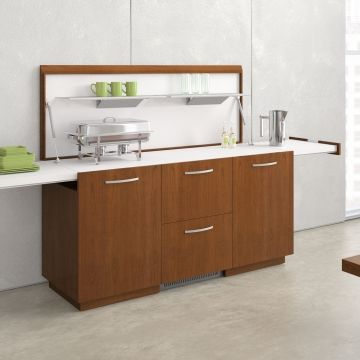 Utility Credenza; Bottom Middle drawer is a refrigerator drawer.