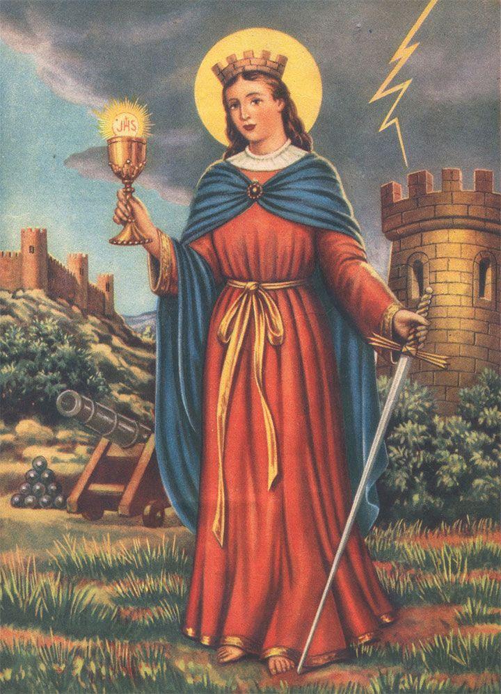 Pintura antigua de Santa Bárbara con los atributos que más la representan: la torre, la espada, el rayo, la túnica roja y el cáliz