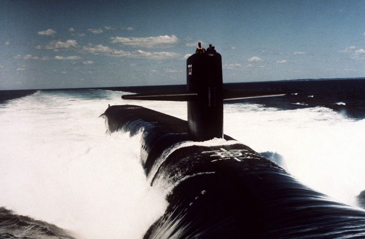USS Nevada (SSBN-733) 1985, A starboard bow view of the nuclear-powered strategic missile submarine Nevada (SSBN-733) underway on 16 August 1986 off the Atlantic coast after being commissioned.