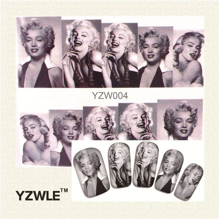 YZWLE 1 Лист Черный и белый Женщин графика Nail Art Water Переводные Картинки Перевода Наклейки, маникюр Декор Инструмент Покрытие Ногтей Обертывание Этикета #CLICK! #clothing, #shoes, #jewelry, #women, #men, #hats, #watches