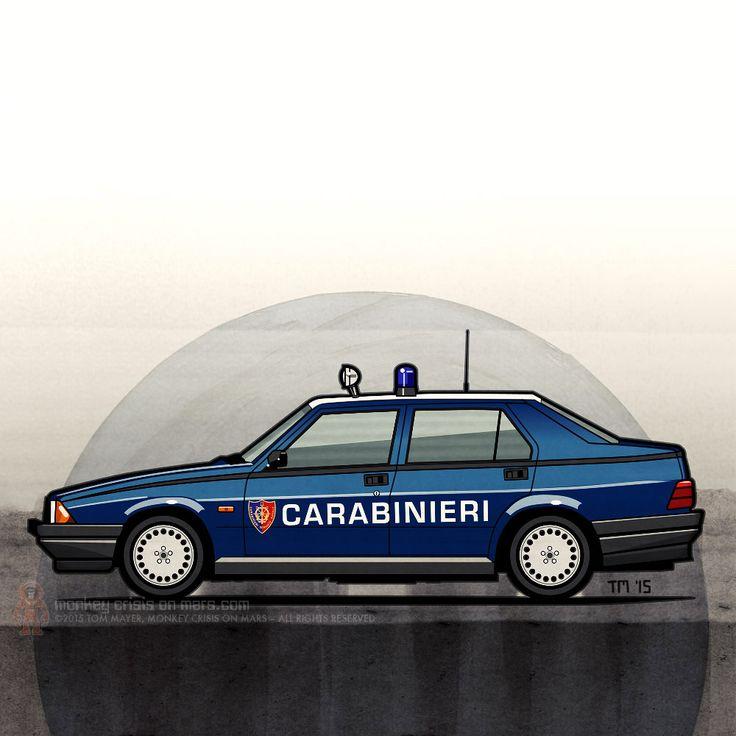 Alfa Romeo 75 (Tipo 161, 162B, Milano) Carabinieri – Alfa Romeo marked as Italian national military police (Carabinieri). ©2015 Tom Mayer, Monkey Crisis On Mars #AlfaRomeo #Carabinieri #Italia