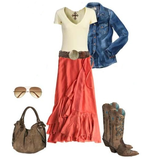 coral country gal - love this skirt!
