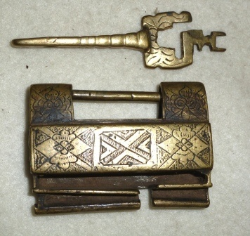 Antique Chinese Padlock Solid Brass