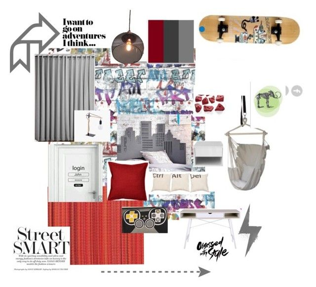 """""""City Slick Gamer II - blue hues"""" by spacecraftinteriors on Polyvore featuring interior, interiors, interior design, home, home decor and interior decorating"""