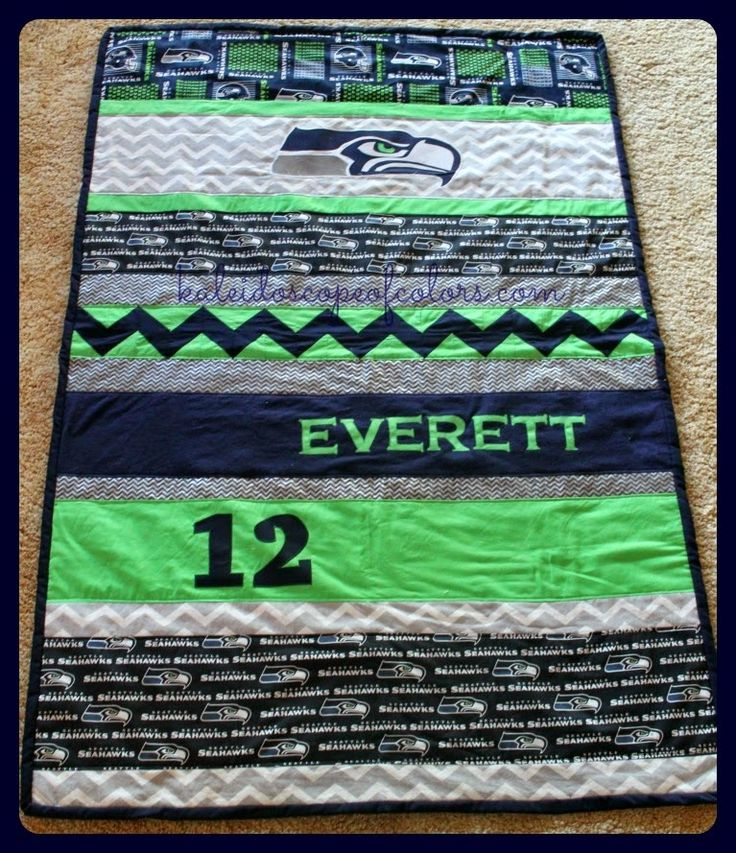 Kaleidoscope of Colors: Seattle Seahawks Team Quilt for Everett