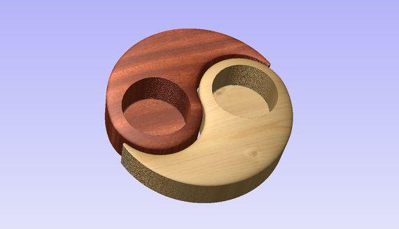 Stl 3d model of tealight holder yin-yang for cnc carving vectric aspire cut3d artcam 3d printer