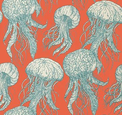 Jellyfish Bloom Turquoise / Coral wallpaper by Thibaut