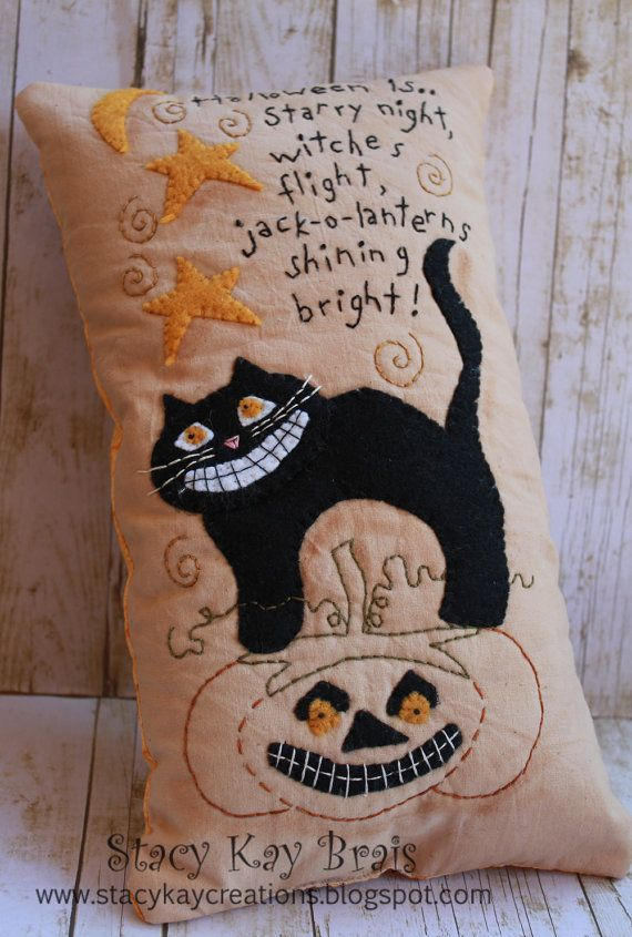 Handmade Primitive Fall/Halloween  Pillow  by ScrapbookingCottage, $30.00