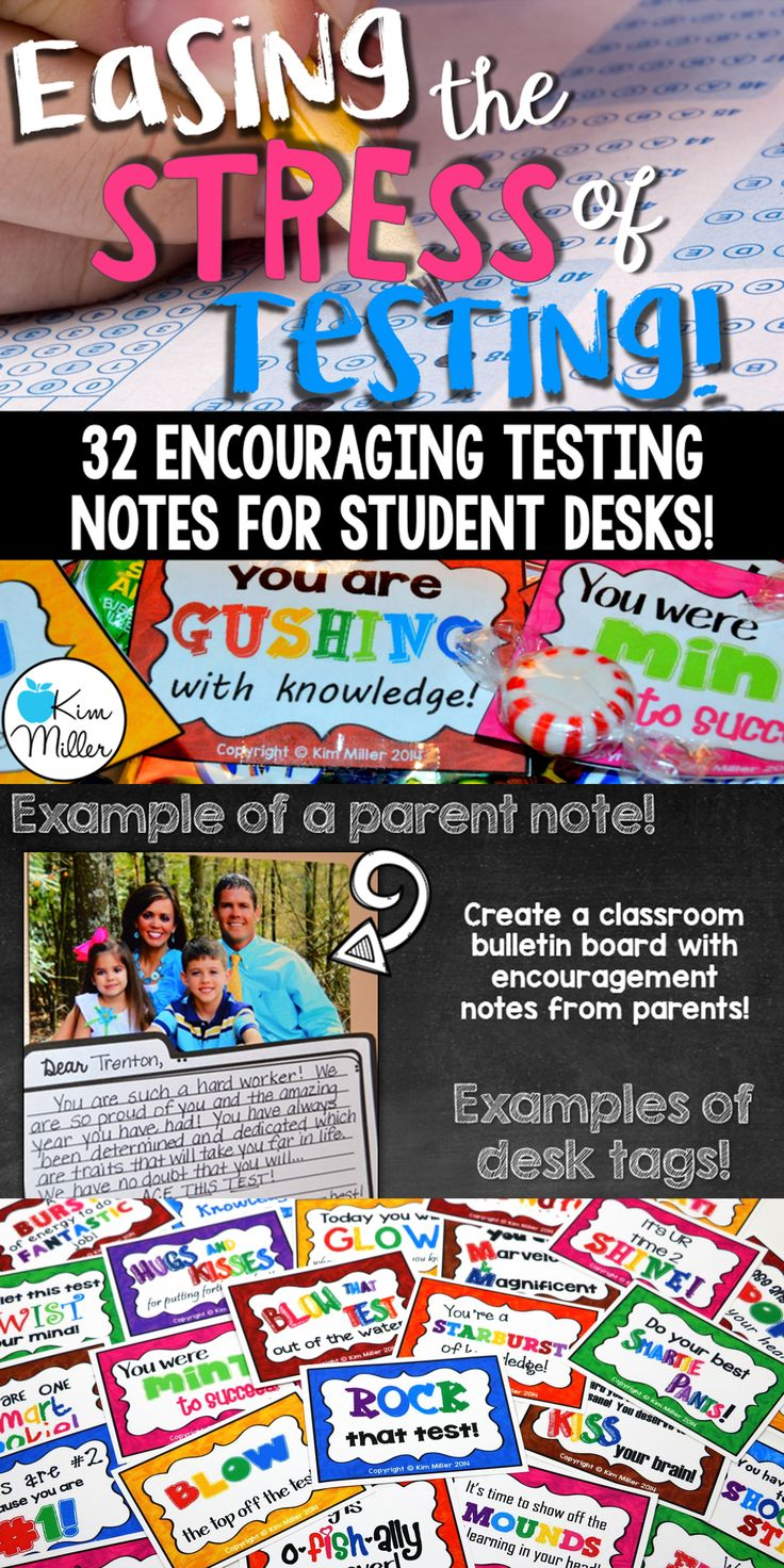 Ease the stress of testing with these 32 encouraging desk notes for students! Easily print and leave on each student's desk, along with a small treat, on those dreaded testing days.