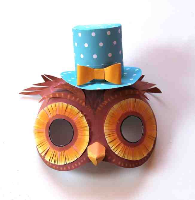 Wonderful printable owl mask and top hat by Happythought