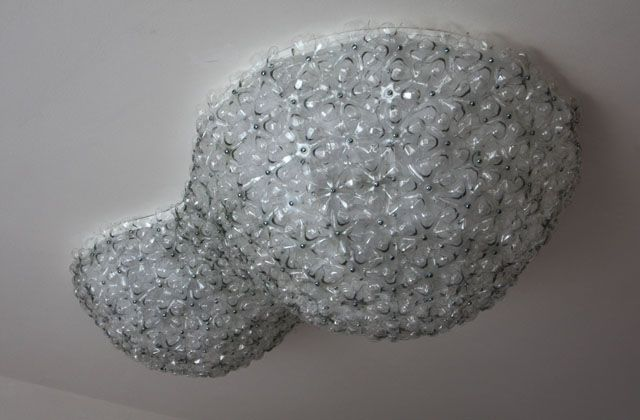 Barbapapa - ceilinglamp made of clear PET bottles