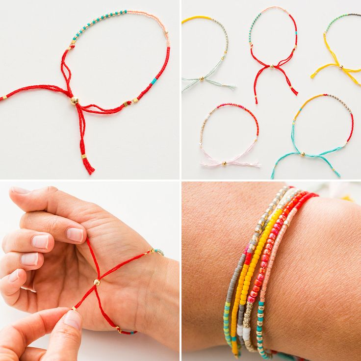 Use seed beads to make these colorful friendship bracelets.